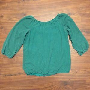Ann Taylor Green Circle Print Blouse Size XS